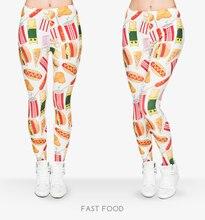 New 3D Print Fast Food Women Leggings Sexy Leggins Tayt Fitness Legging Calzas Mujer Winter Swarm Jeggings Shiny legins girls
