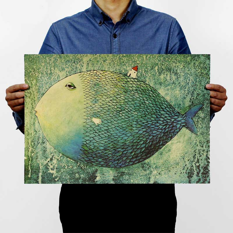 Big fish small house Widely in kraft paper poster children bedroom adornment frameless restoring ancient way Poster wall sticker