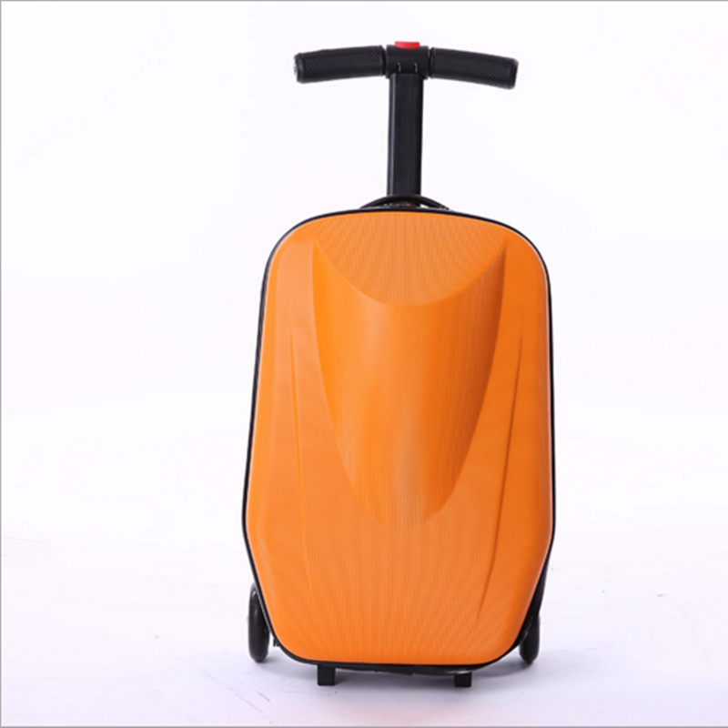 20 inch scooters trolley case 100% PC 3D extrusion business Travel luggage child Boarding box Travel case bags Roller suitcase 21 inch students scooter suitcase boy cool trolley case 3d extrusion high quality pc separable travel luggage child boarding box