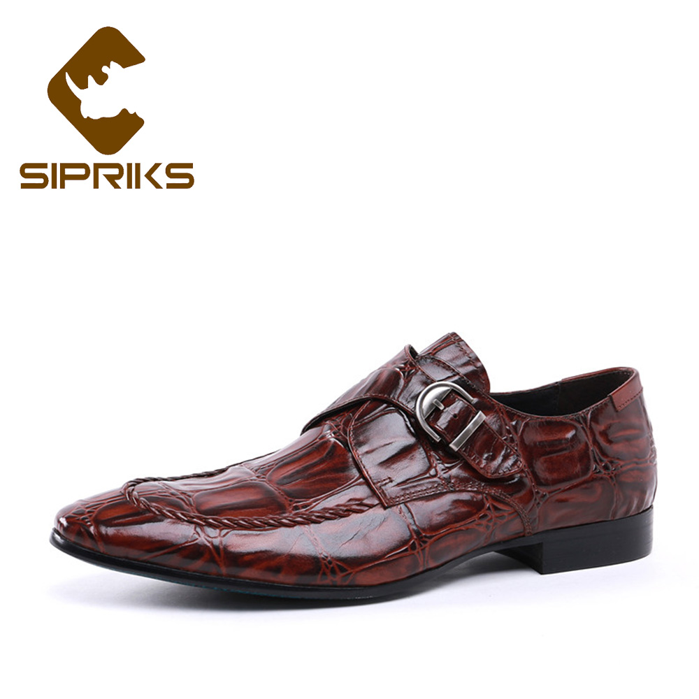 Sipriks Brand Mens Buckle Lesther Shoes Fashion Single Monk Strap Spiked Loafers Business Formal Wedding Flats Dress Work Shoes sipriks mens single monk strap shoes fashion mens topsiders shoes pointed toe real leather dress shoes with buckle strap work