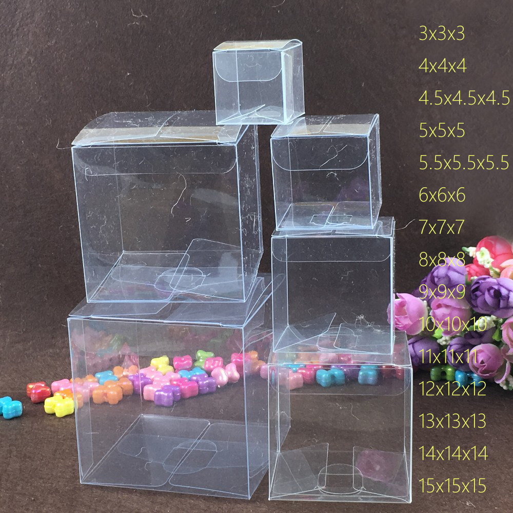 50pcs Square Plastic Box Storage PVC Box Clear Transparent Boxes For Gift Boxes Wedding/Tool/Food/Jewelry Packaging Display DIY