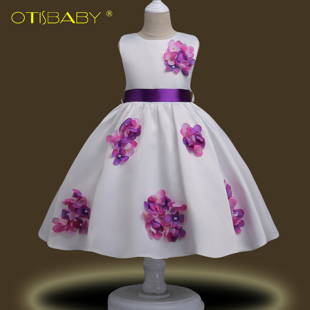 Fancy Girl Flower Girl Dresses for Teenagers Frocks Costume Kinder Elegant Ball Gowns Pageant Girl Party Agent Communion Dress