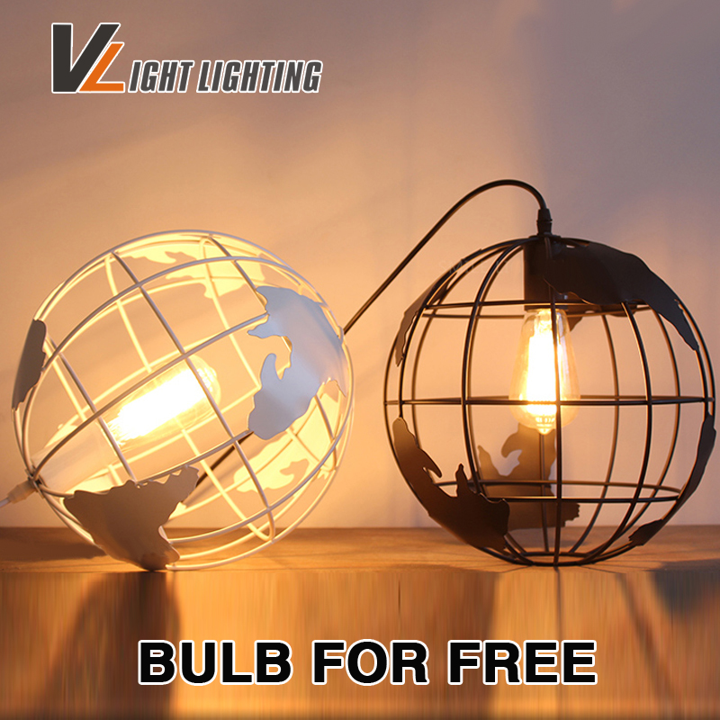 Retro Loft vintage pendant lights The earth world shape Iron pendant lamp restaurant bar  indoor light fixture Edison bulb free earth 2 world s end vol 1