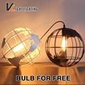 Retro Loft vintage pendant lights The earth world shape Iron pendant lamp restaurant bar  indoor light fixture Edison bulb free