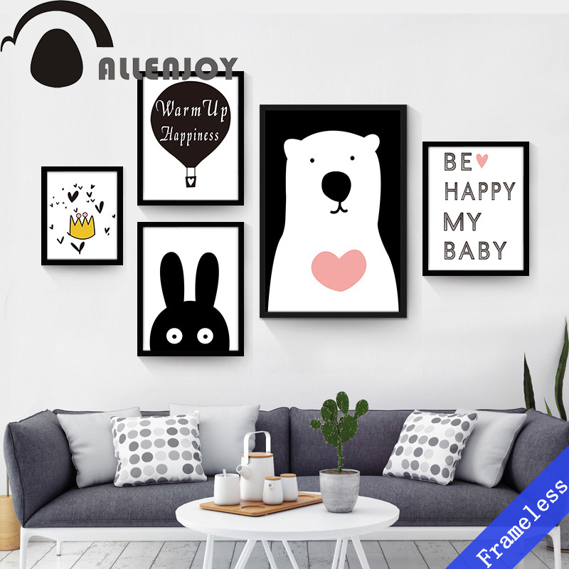 Nordic Black White Home Decor Bear Wall Poster Painting