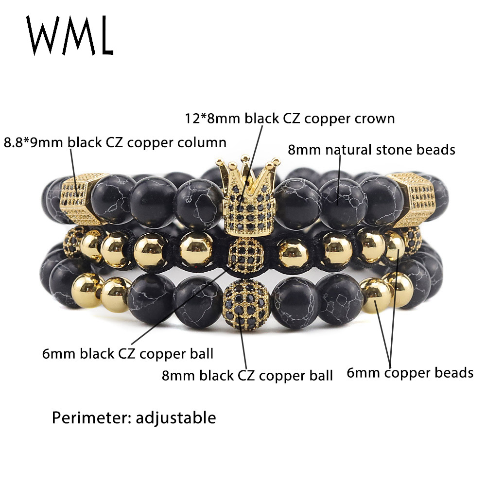 3pcs Set Luxury Crown Bracelets CZ Ball crown Charm Braided macrame natural stone beads bracelets bangles for mens accessories in Charm Bracelets from Jewelry Accessories