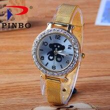 Belle Ours En Acier bande Sport Bracelet À Quartz Montres De Luxe PINBO Marque Heure Horloge Relojes relogio feminino Mode Casual Montres