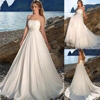 Charming Chiffon Strapless Neckline A line Wedding Dresses with Beadings & Rhinestones Beach Bridal Gowns