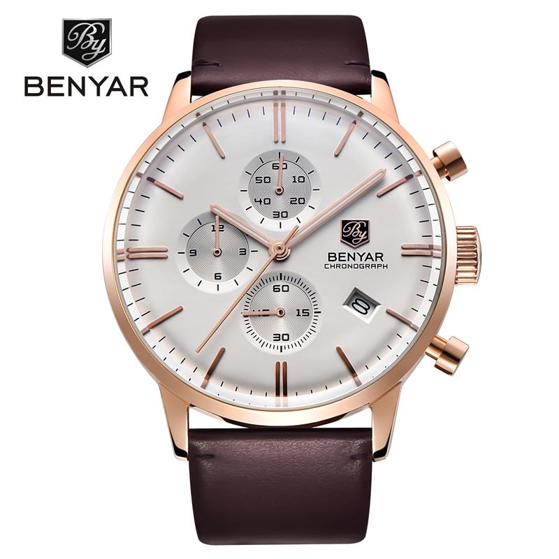 купить new hot Reloj Hombre 2017 BENYAR Fashion Waterproof 30M Mens Watches Top Brand Luxury quartz watch Clock Relogio Masculino недорого