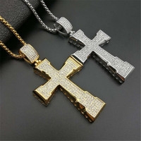 Big Cross Iced Out Bling Bling Rhinestone Pendant For Men Stainless Steel Crucfix Necklace Hip Hop Jewelry Father's Day Gift