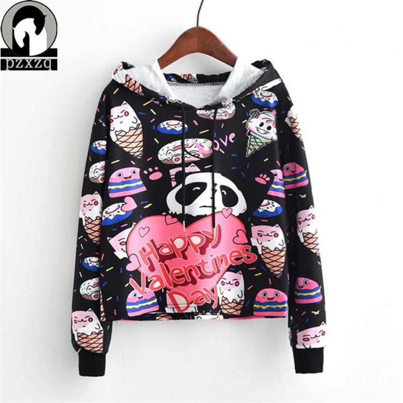 Spring Autumn Harajuku Panda Print Hoodies Girls Crop Sweatshirts Cartoon Casual Ladies Autumn Pullover Fashion Women Clothes