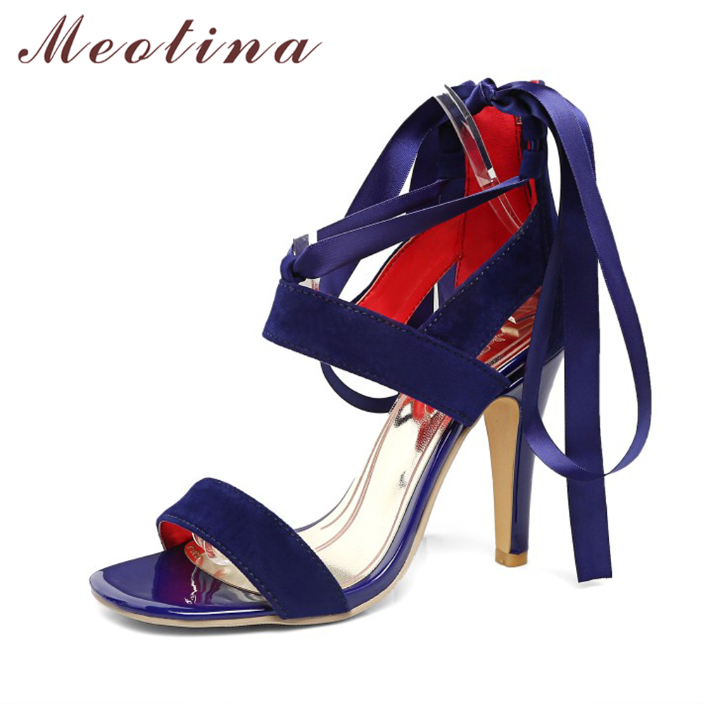 Meotina Women Shoes Sandals 2017 Summer Cross Tied High Heel Sandals Gladiator Women Sexy Party Heels Blue Red Large Size 44 45 gladiator womens size 11 heels sheepskin sandals large size 33 cm 43 cm summer black green sandy cross tied woman pumps sexy