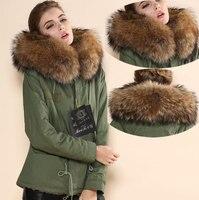Для женщин зимний теплый коричневый с натуральным кроличьим Мех животных великолепные Армейский зеленый пальто Бесплатная доставка После