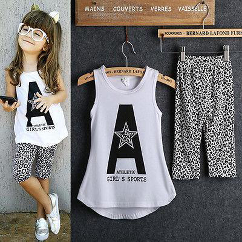 Casual Summer Children Clothing Set 2 3 4 5 6 7 Year Girls Clothes White Vest Leopard Pant Kids Clothes Tracksuit for Girl
