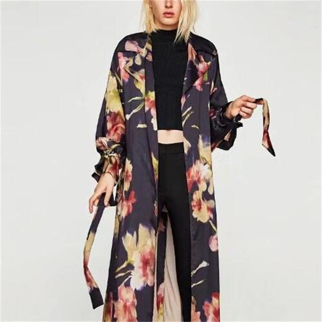 style ethnique imprim floral femmes vintage kimono chemise automne dentelle up scission noir. Black Bedroom Furniture Sets. Home Design Ideas