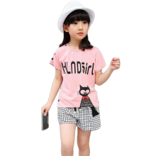 3 4 5 6 7 8 9 10 10 11 12 13 14 Years Children Clothing Set 2018 Summer Casual Cotton Girls Clothes T-shirt Shorts Kids Suits цена