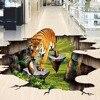 Custom Floor Wallpaper Waterproof Self Adhesive PVC Wall Sticker Tiger Outdoors 3D Floor Painting Wall Mural