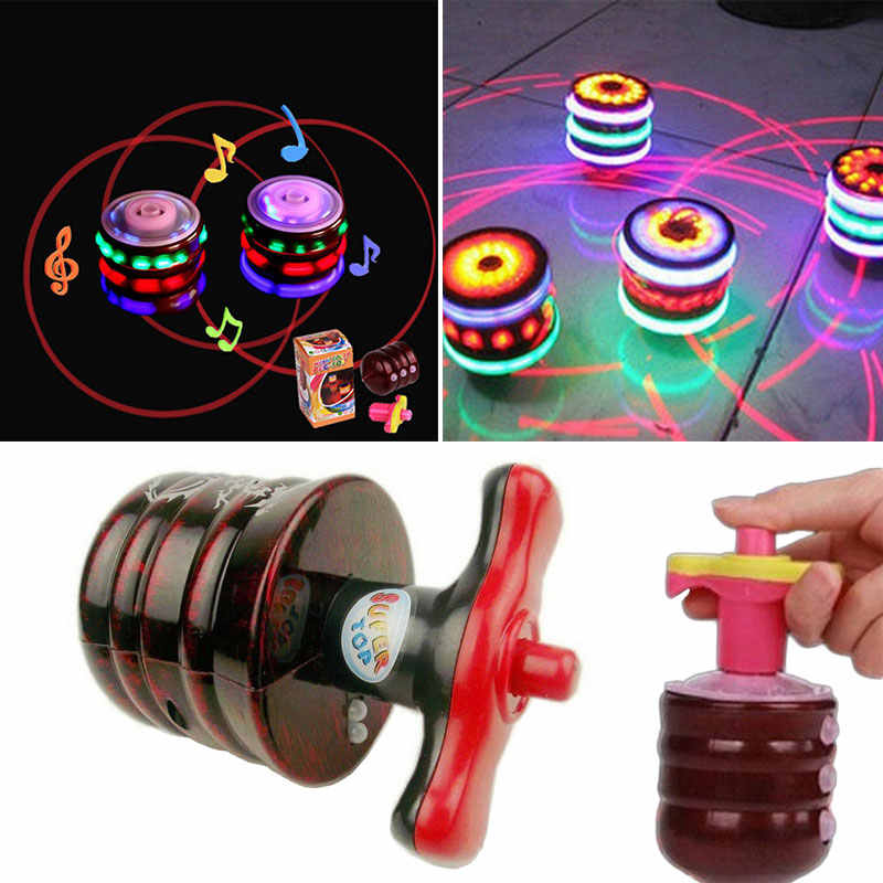 Music Gyro Peg-Top Spinning Top Brinquedo Funny Kids Toy Classic UFO Gyroscope Laser Color Flash LED Light New Year's gift
