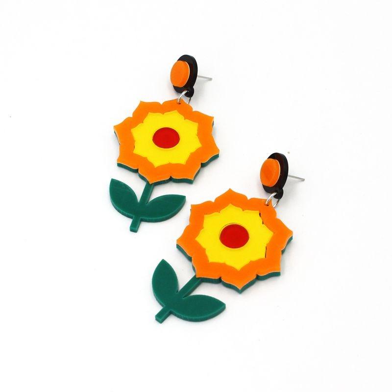 New Flower Earrings For Women Fashion Jewelry Long Acrylic Jewelry in Stud Earrings from Jewelry Accessories