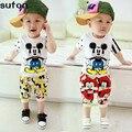 2-5A 2017 Verão Mickey Mouse Roupas Meninos Terno Do Bebê CottonT Camisas + shorts Coreano Moda Pullover Roupa Dos Miúdos Frete Grátis