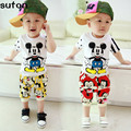 2-5Y 2017 Summer Mickey Mouse Clothing Suit Baby Boys Korean CottonT Shirts+shorts Fashion  Pullover Kids Clothes Free Shipping