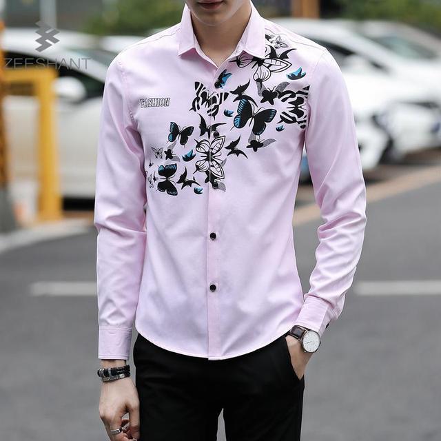 a33c303a7a Zeeshant 2018 Stylish Men Shirt Luxury Brand Designer Butterfly Print  Floral Shirts Men Long Sleeve Cotton Slim Fit Dress Shirts