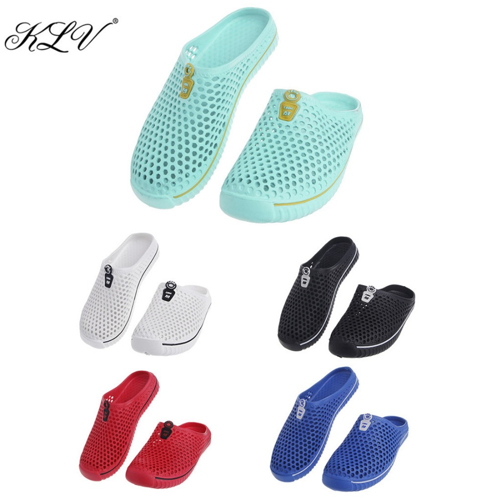 KLV Summer New Design Women Girl Hollow Out Breathable Beach Shoes Outdoor Casual Mesh Couple Slipper