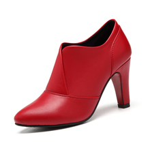 Lady Spring Autumn Women Block Thin Heels Genuine Leather Ladies High Heel Pumps Black Red Pointed Toe Shoes YG-B0077