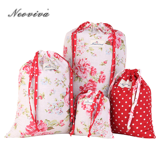 Neoviva Cotton Drawstring Bag For Underwear During Trips Pack Of 4 In Diffe Sizes And Patterns