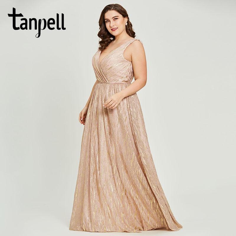 Tanpell v neck gilding evening dresses pink sleeveless backless floor length a line gown women wedding plus long evening dress