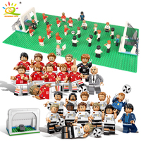 12pcs Football team Figures with baseplate Building Blocks Compatible Legoing city sports Football player Bricks children Toys