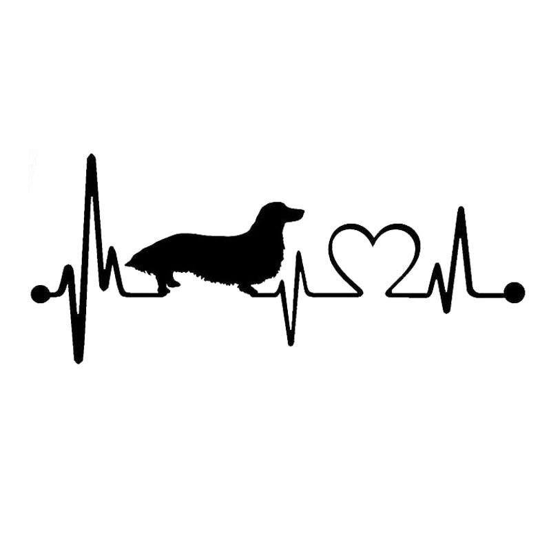 17.8*7,6 см длинношерстные таксы сердцебиение спасательным кругом монитора собака виниловая наклейка мода украшения окна наклейки С6-1149