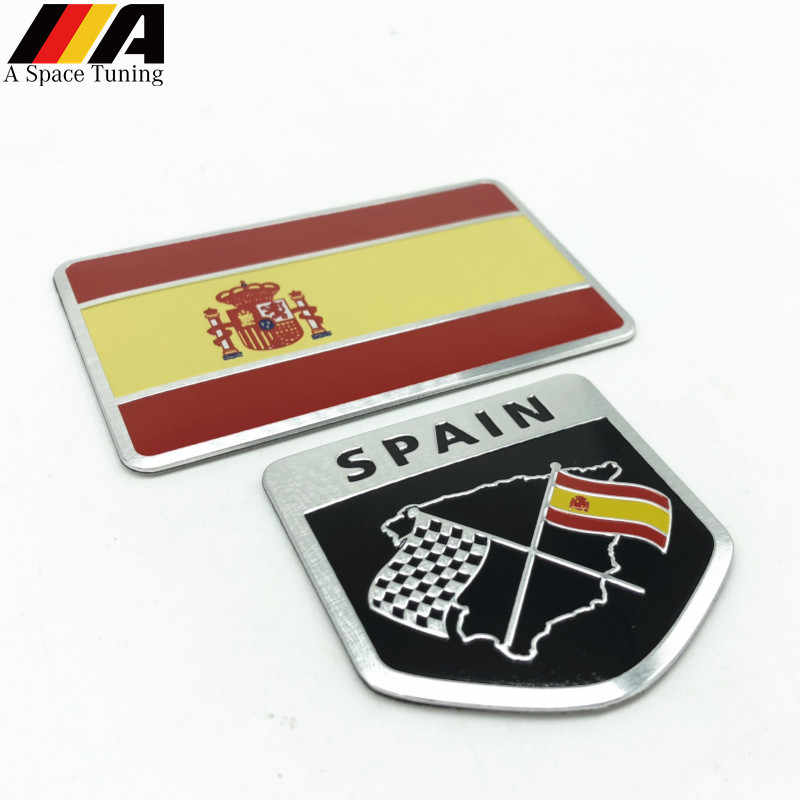 Car Styling 3D Aluminum Spain Flag National Flag Shield Emblem Badge Motorcycle Accessories  for Seat Leon Ibiza Ford Citroen VW