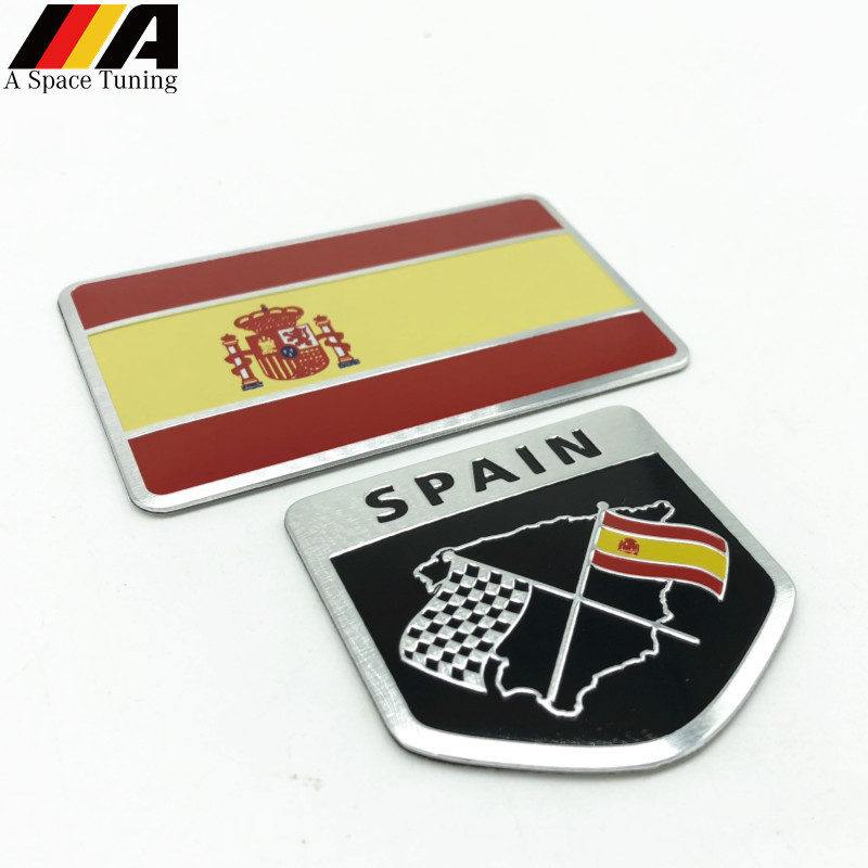 Car Styling 3D Aluminum Spain Flag National Flag Shield Emblem Badge Motorcycle Accessories for Seat Leon Ibiza Ford Citroen VW(China)