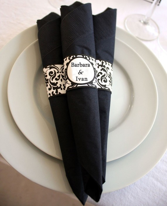 Bold Damask Napkin Rings Print, Customized bridal name and date, Dinner Setting decor, Party Label Personalized Wedding Favor ...