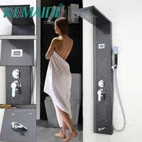 KEMAIDI kolumna prysznicowa z hydromasażem mosiądzu łazienka opady deszczu głowica prysznicowa W/opryskiwacz ręczny kran panel prysznicowy baterie