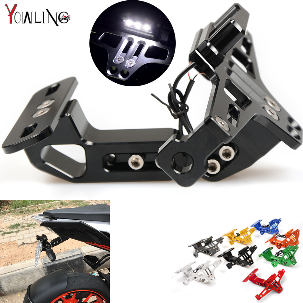 Universal CNC Aluminum Motorcycle Rear License Plate Mount Holder with White LED Light for Honda Kawasaki Yamaha KTM Suzuki BMW noble black pu leather pin buckle lace up corset for women