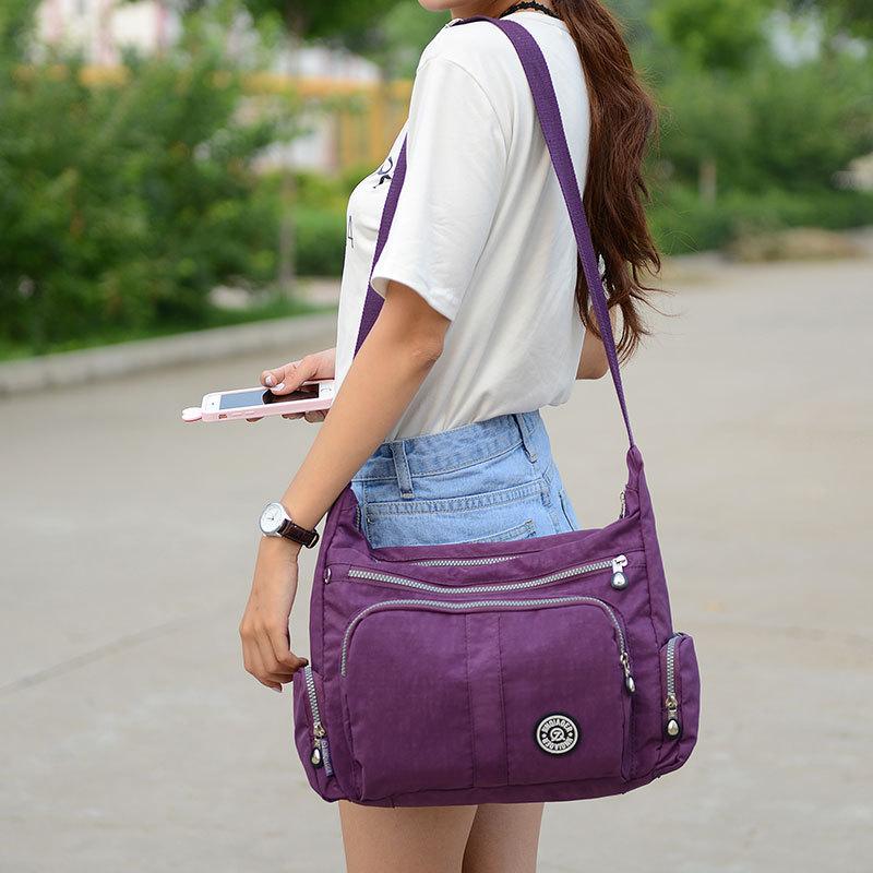 Luxury Classical Purple Women Bag Brand Fashion Waterproof Nylon Handbag Ladies Shoulder Crossbody Bag