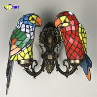 FUMAT Retro Colorido Vitral Tiffany Lâmpadas de Parede Americano Do Vintage Home Decor Arandelas de Parede de Aves Papagaio LEVOU Luminárias