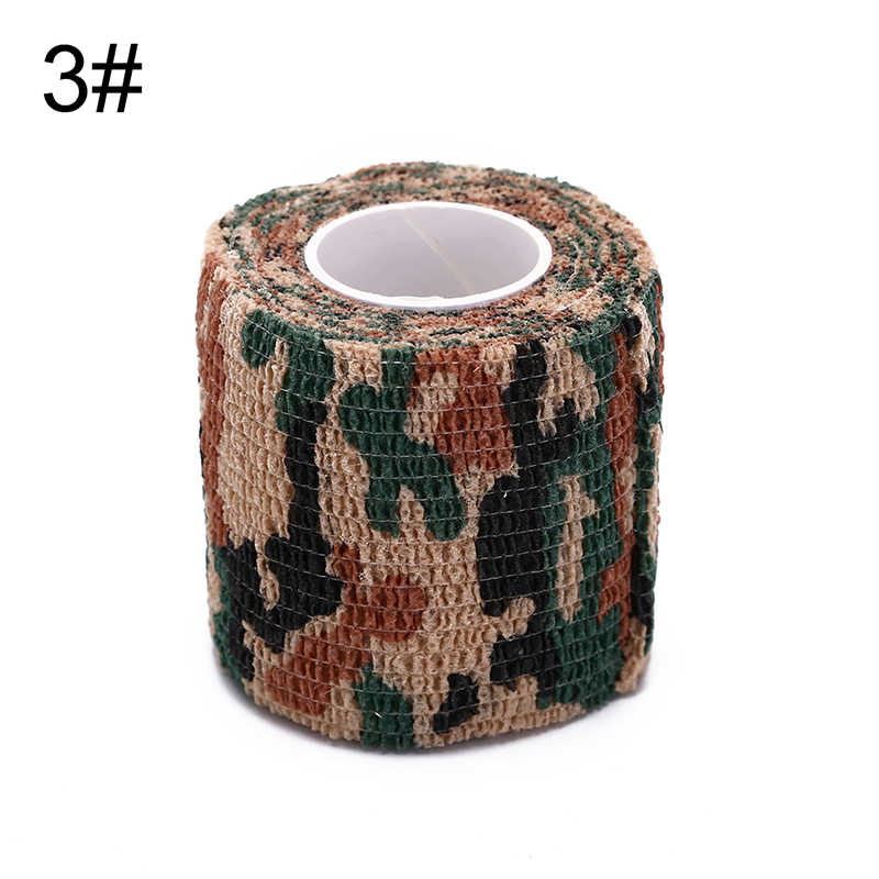 5センチ× 4.5メートル自己接着不織布迷彩ラップライフル狩猟射撃サイクリングテープ防水迷彩ステルステープ