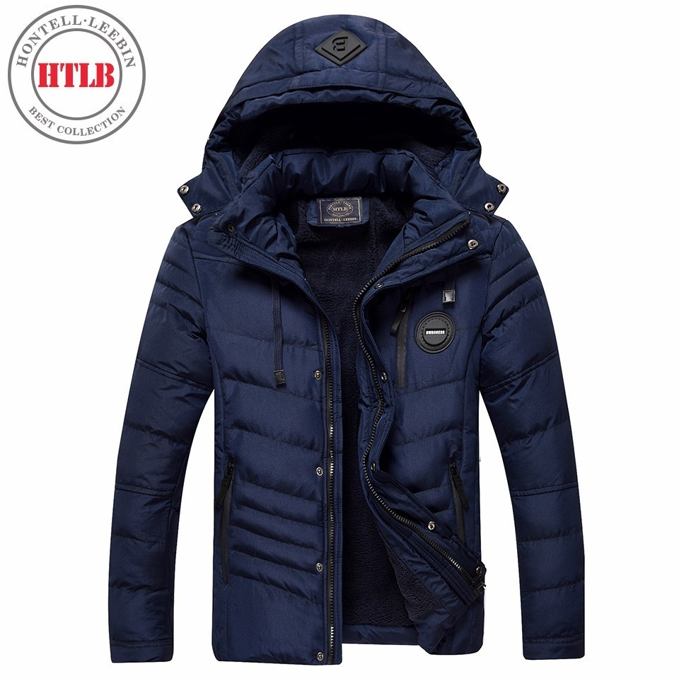 HTLB Brand New Men Winter Warm Thick Fleece Jacket Parkas Men Bio Down Autumn Outerwear Solid Fleece Hooded Hat Parka Coat Men
