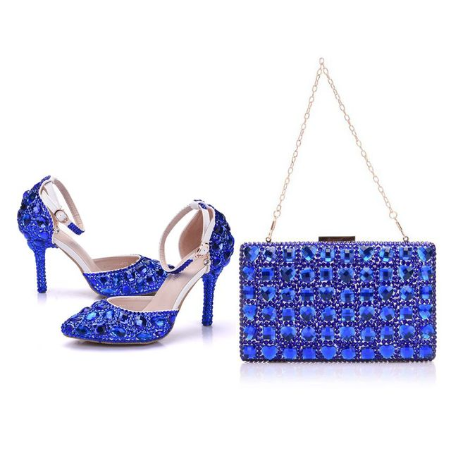 Crystal Queen Blue Crystal Wedding Shoes With Matching Bags Bride Payty  Dress Shoes Purse Women High Heel Sandals 9d0e4106e2ee