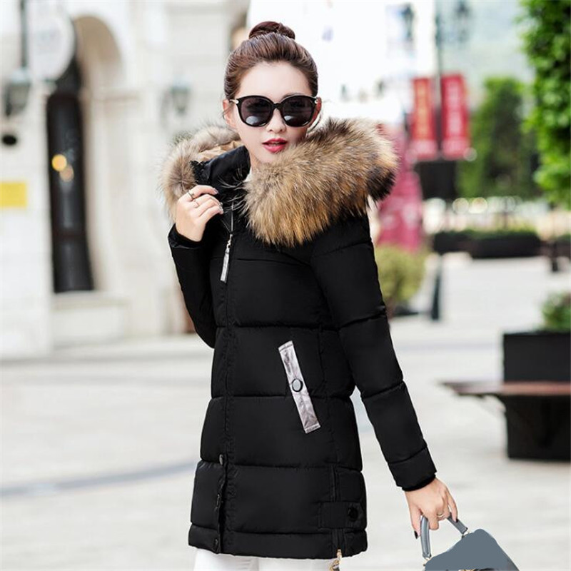 Image 3 - Winter Jacket Women Big Fur Hooded Parka Long Coats Cotton Padded Ladies Winter Coat Women Warm Thicken Jaqueta Feminina Inverno-in Parkas from Women's Clothing
