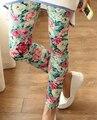 Nova flor rosa impresso Leggings moda mulheres Sexy Lady calças de algodão fino 2 cores em estoque