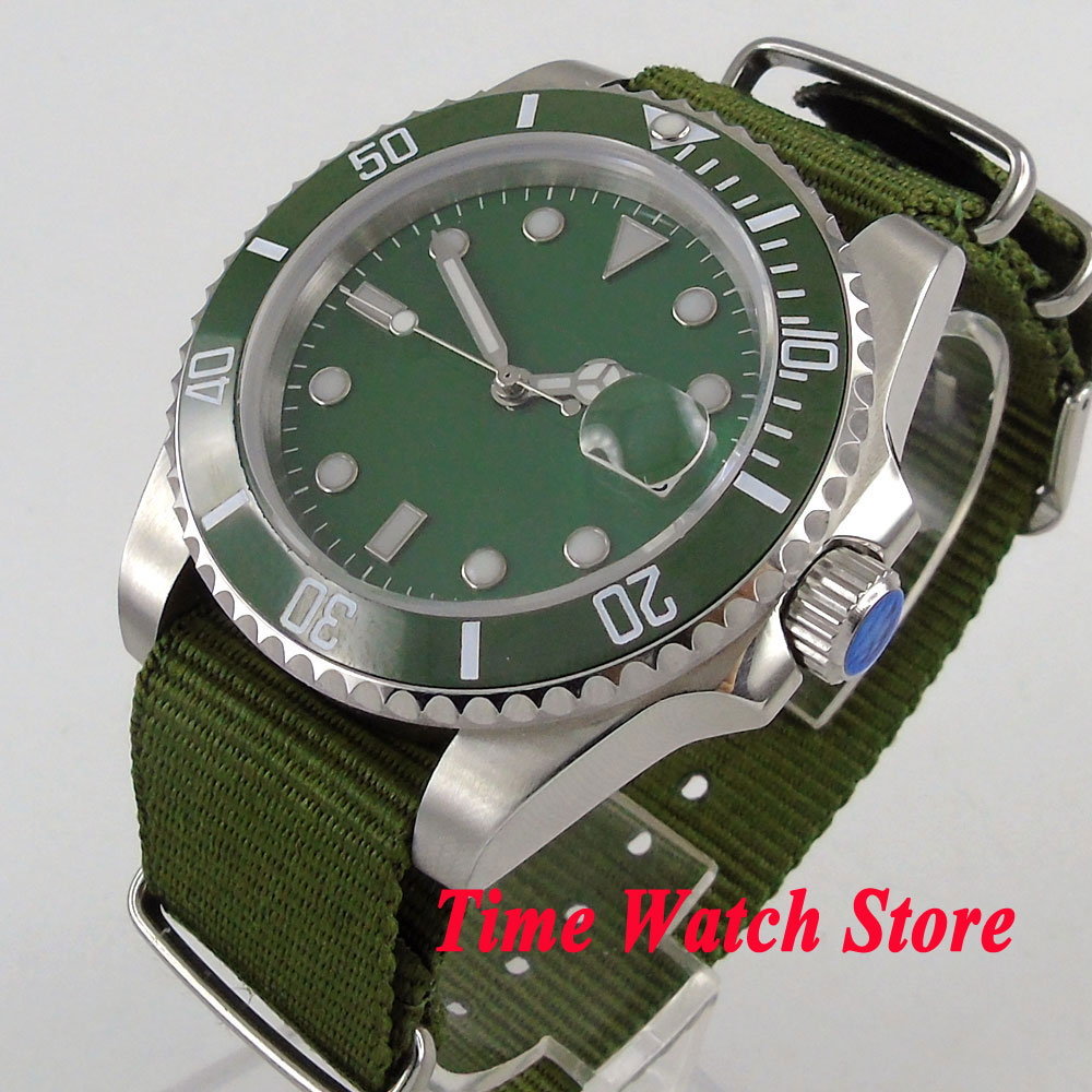 лучшая цена Bliger 40mm men's watch green sterile dial luminous saphire glass green Ceramic Bezel Automatic movement wrist watch men 111