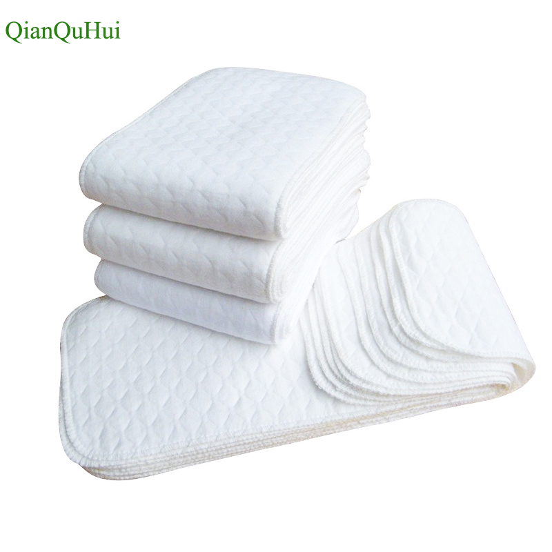 Reusable baby Diapers Cloth Diaper Inserts 1 piece 3 Layer Insert 100% Cotton Washable Baby Care Products 10pcs Free Shipping