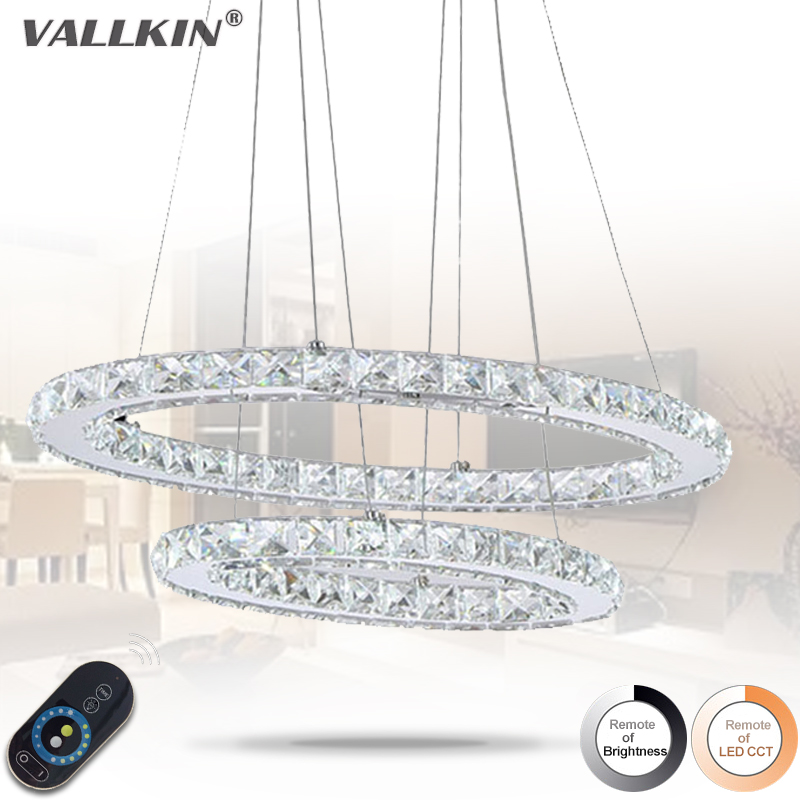 Dimmable 45W Oval Double Ring Crystal LED Pendant Light Indoor Home Deco Pendant Lighting Cristal Fixtures for Dining Room Bar dimmable pendant lights led crystal lighting hanging lamps indoor home light with remote control for hallway indoor home deco