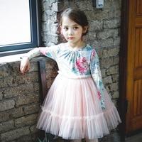 Everweekend Dziewczyny Floral Drukowane Tutu Princess Dress Ruffles Babie lato Rocznika Korea Sukienka Zachodnia Strona Odzież Niemowlęca