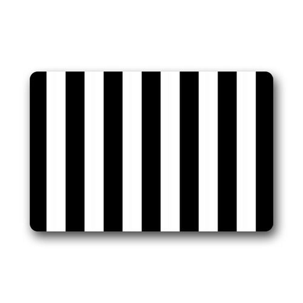 Memory Home Custom Decorative Kitchen Rugs Black and White Stripes ...