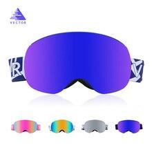 e0081c832f001 VECTOR gafas de esquí doble capa con magnético UV400 antiniebla esféricos  grandes gafas de esquí hombres mujeres nieve Snowboard.